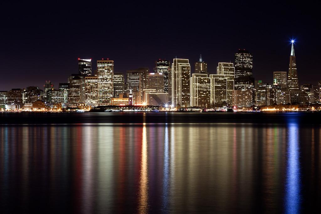The San Francisco skyline, as viewed from Treasure Island
