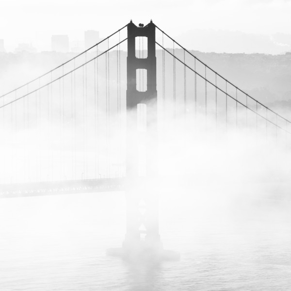 The Golden Gate Bridge's south tower was shrouded in fog periodically while we waited for Endeavour