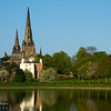 Lichfield Cathedral across Stowe Pool