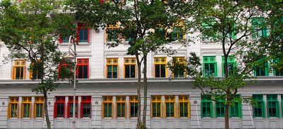 Rainbow Windows - Singapore  A row of superbly colored, and designed, windows and walls - somewhere in downtown Singapore.