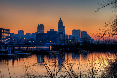 Cleveland Skyline from Lake Erie at Dusk