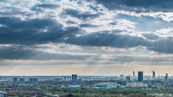 Crepuscular rays over London