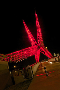 Oklahoma City SkyDance Bridge, also known as the Scissor Tail Bridge after the Oklahoma state bird. Oklahoma City, OK.