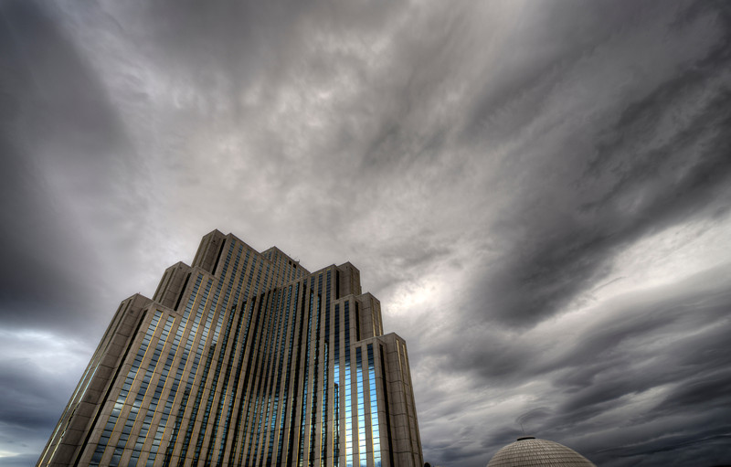 The Silver Legacy, Reno - Nevada.  An early morning storm sweeps in over the fortress-like resort of the Silver Legacy. It appeared as if the brooding tower itself was creating the clouds, sending them out into the dull sky.