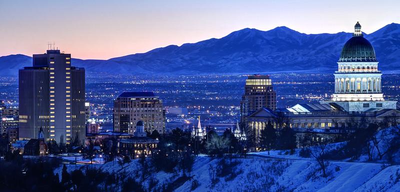 Utah Capitol And Oquirrh Mountains Winter Sunset