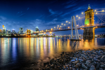 Cincinnati Skyline and Bridge at Night