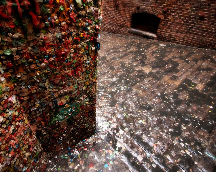 """The Gum Wall, Seattle - Washington<br /> <br /> A strange, gooey work of art, the """"Gum Wall"""" has been created over the years by locals and tourist, in an alleyway behind Seattle's Pike Place Market."""