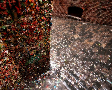 """The Gum Wall, Seattle - Washington  A strange, gooey work of art, the """"Gum Wall"""" has been created over the years by locals and tourist, in an alleyway behind Seattle's Pike Place Market."""