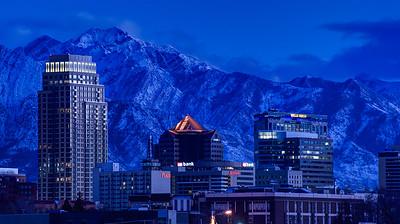 Winter Sunset Downtown Salt Lake City - Utah