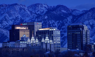 Salt Lake City Downtown Winter Skyline - Utah