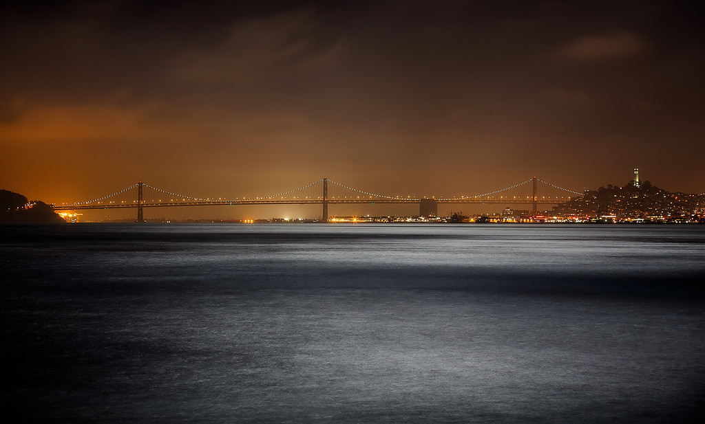 <h2>Bewitchingly Bejeweled by Night</h2>San Francisco Bay Bridge    ©Karen Hutton - Creative Commons (CC BY-NC 3.0)