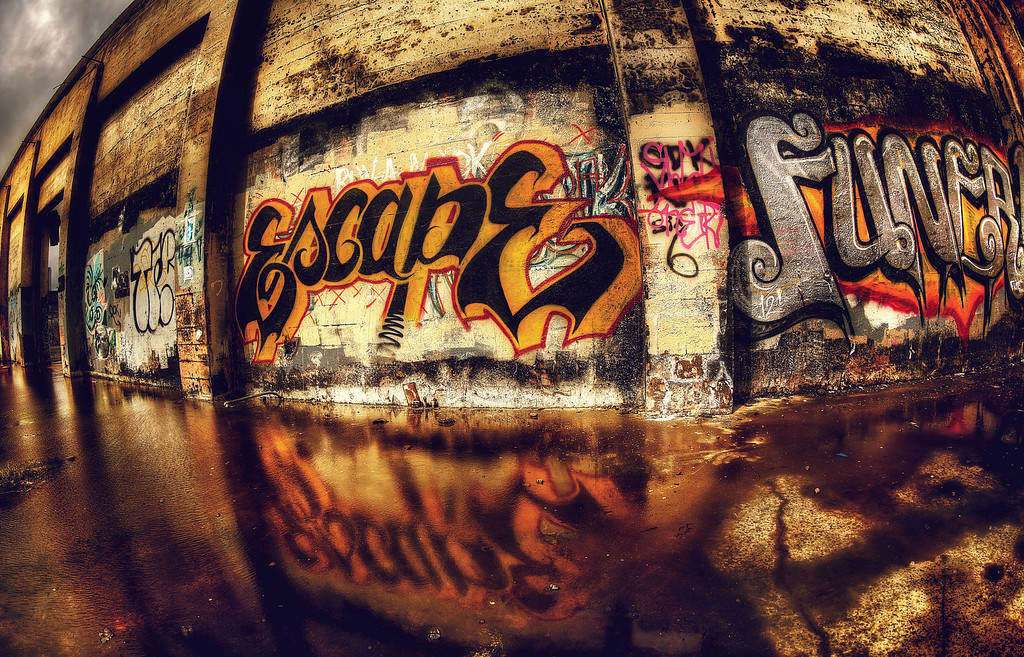 <h2>Escape</h2>Portland, OR It was like another world. Dream or reality? She voted dream and narrowed her eyes as she read the wall scrawl.  Escape. Right. To just where, exactly? On whose terms? And who would be waiting? She surmised that those who'd leapt before her, never to be seen or heard from again, didn't bother to question these small details.  ©Karen Hutton - Creative Commons (CC BY-NC 3.0)