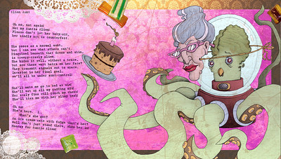 Illustration and page layout for a book of children's poems by author Ian Lendler.