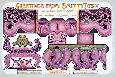 illustration and type design for self-promotional mailer