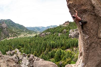 Nicolas Vouillamoz climbing Sismo Mental 7b+, 5.12c, Valle Encantado, near Bariloche Southern Argentina.