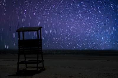 Lifeguard Chair Light Trails Tybee Island GA