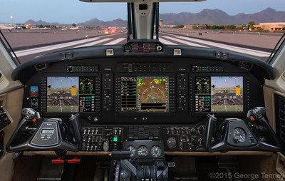 This Bendix King AeroVue retrofit cockpit  was photographed on location in Scottsdale, AZ.