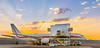 Honeywell Flight Test Boeing 757 parked on hangar ramp at sunrise. Honeywell Flight Operations, Phoenix, AZ.