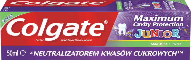 612799	COLGATE hambapasta Maximum Cavity Protection Junior 50ml	12*50ml	8714789988580