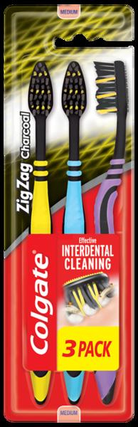 6015799COLGATE hambahari Zig-Zag Charcoal 3-pakk12*3tk8718951305212