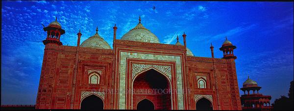 Mausoleum on Taj Mahal grounds in Agra, India.