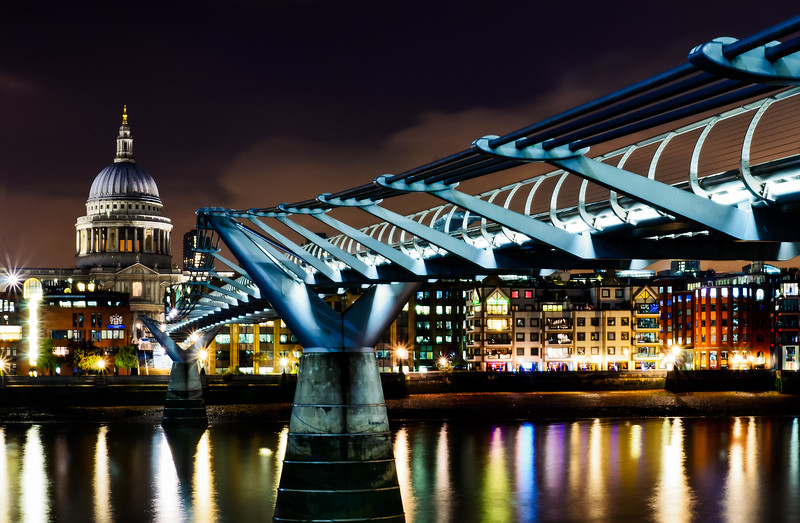 MIllenium Bridge and St Paul's at Night