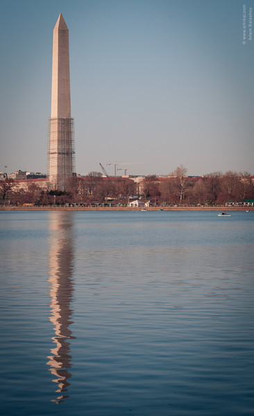 Washington Monument is being restored after  2011 Virginia Earthquake, Spring 2013, Washington, D.C.