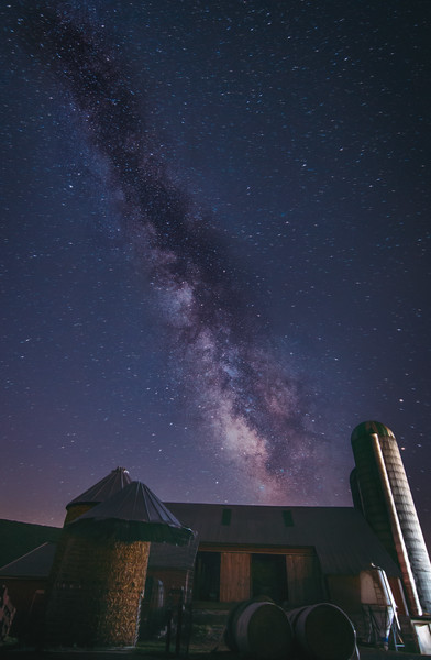 Milky Way over Mennonite farm, Belleville, PA, Summer 2016