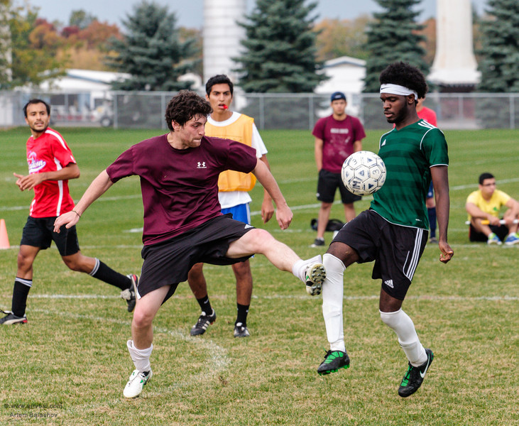 Penn State ISC 2013 Fall Soccer Tournament, Final Game - South America (red) VS H-Squad (mostly Africa) (dark green), University Park, PA