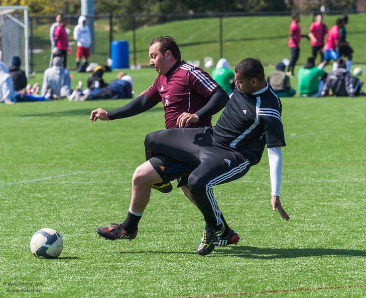 Penn State ISC 2013 Spring Soccer Tournament, South America (dark red) VS mixed team, University Park, PA
