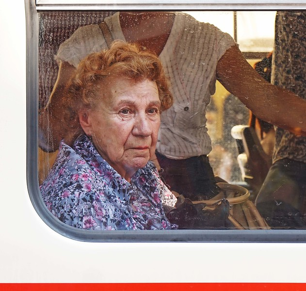 Woman on tram, Prague