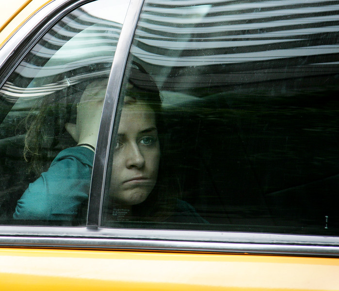 Girl in taxi, NYC