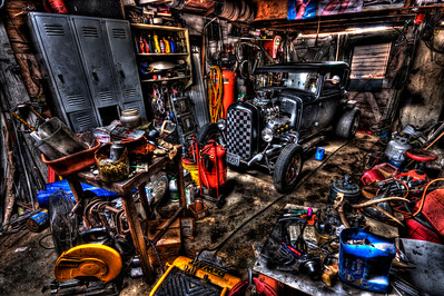 Mechanics Garage This is the garage of a hotrod builder in Soulsbyville, California (this is a photograph, not a painting) - © Simpson Brothers Photography