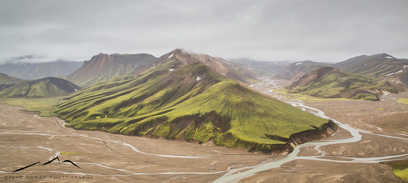 Panoramic from a ridge above Landmannalaugar.
