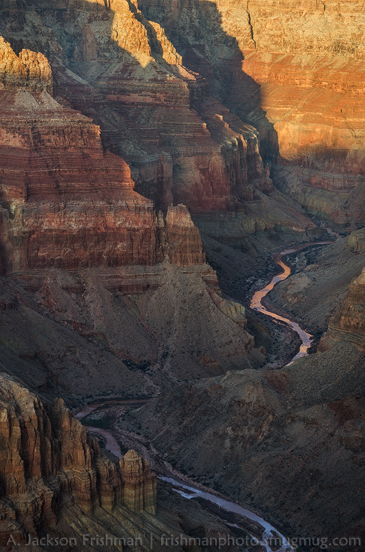 Evening light in the Little Colorado Gorge, Grand Canyon National Park, February 2012.