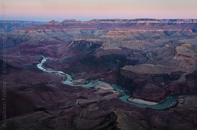 Dawn over the Colorado River, Vishnu Temple and the North Rim from Comanche Point, Grand Canyon, Arizona, February 2013.