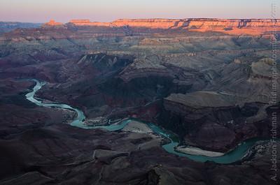 Sunrise on Vishnu Temple and the North Rim from Comanche Point, Grand Canyon, Arizona, February 2013.
