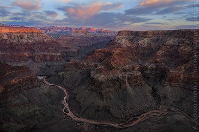 Confluence of the Main and Little Colorado rivers at sunrise, Grand Canyon, February 2012.