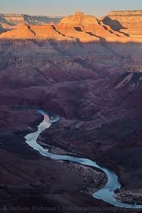 Sunrise on Vishnu Temple and the Colorado River from Comanche Point, Grand Canyon, Arizona, February 2013.