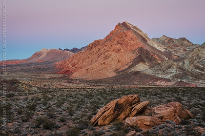 Evening twilight over Sentinel Peak and the Pinto Valley Wilderness, Lake Mead NRA, Nevada, January 2015.
