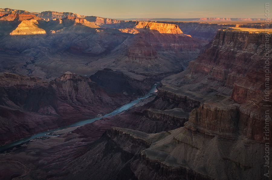 Sunrise view upstream from Comanche Point to Palisades of the Desert, Chuar Butte and Cape Solitude, Grand Canyon, Arizona, February 2013.