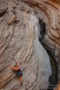 Climbing in Matkatamiba Canyon, Grand Canyon, Arizona, July 2008.