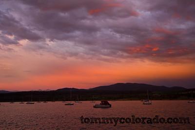 sunset on Lake Dillon from Frisco Bay Marina