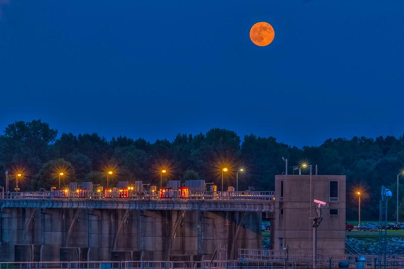 Blue Hour Orange Moon