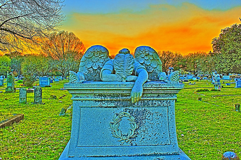 Fire Sunset Weeping Angel. Teasdale Monument. Canon HDR.Weeping Angel Friendship Cemetery Columbus Mississippi  No I repeat no Photoshop.