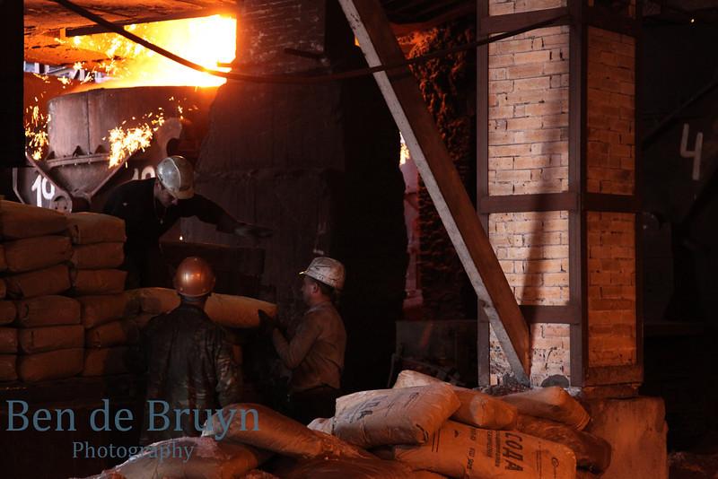 Men at work at a factory producing pig iron