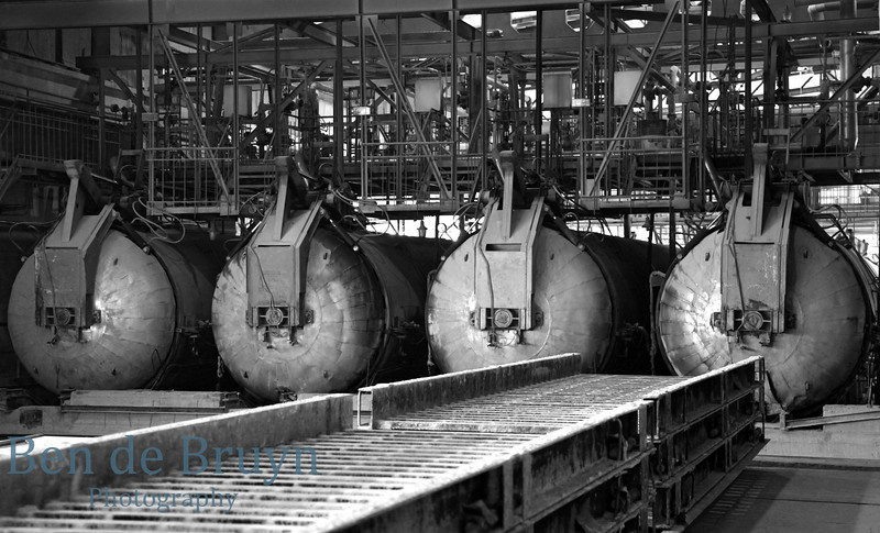 Conclave ovens at areated cement brick factory near Moscow