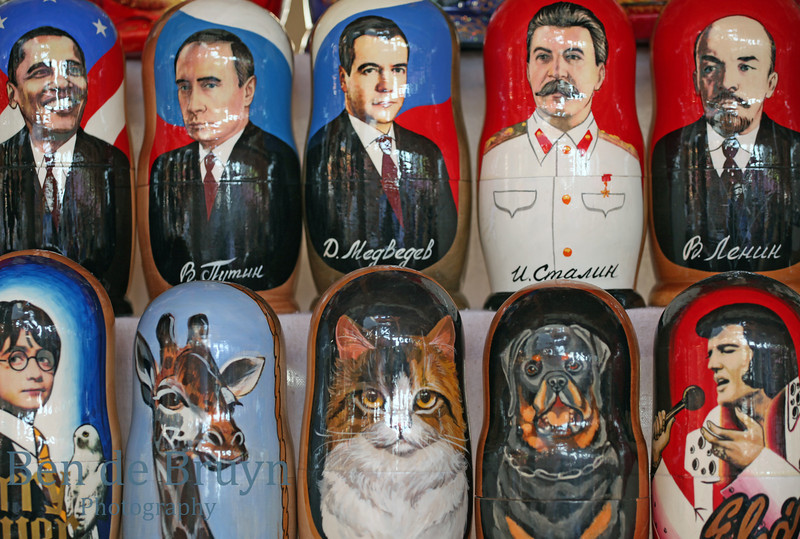 Matryoshka wooden painted dolls on sale in Moscow Russia
