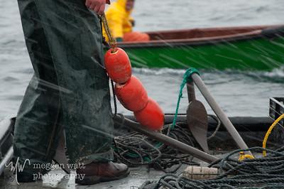 setting a trap net in the sleet