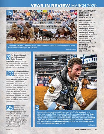 ProRodeo Sports News Magazine Publication December Year-End 2020 Edition